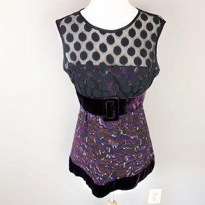 Nanette Lepore Purple Velvet Black Polka Dot Top 4